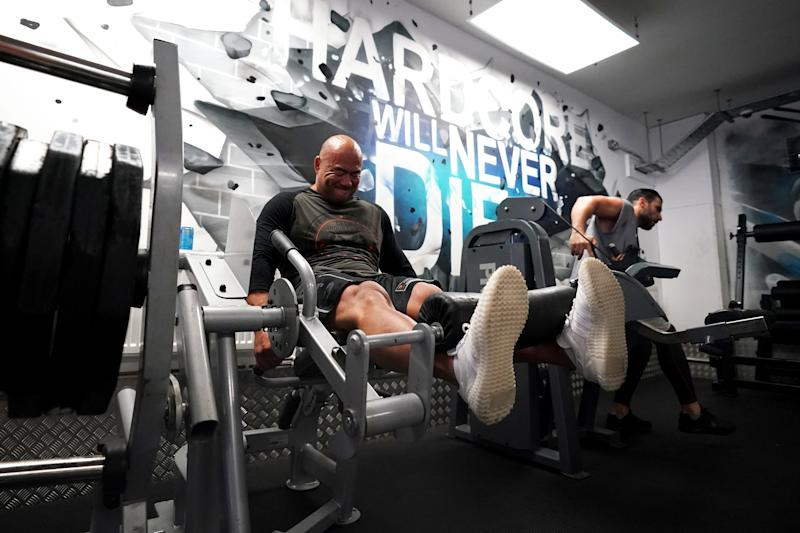 Gym members work out at Ultimate Fitness Gym in Birmingham as indoor gyms, swimming pools and sports facilities can reopen as part of the latest easing of coronavirus lockdown measures in England. (Photo by Morgan Harlow/PA Images via Getty Images)