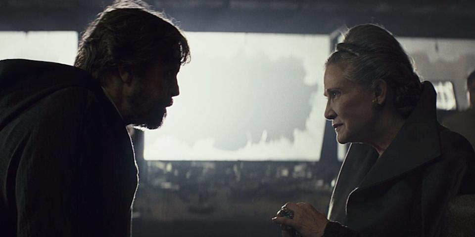 Carrie Fisher appeared with Mark Hamill in The Last Jedi (Credit: LucasFilm)