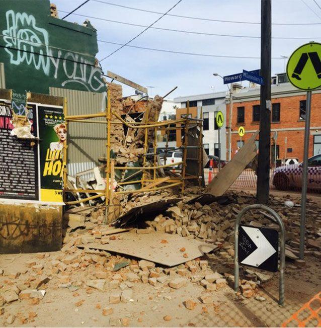 The CFMEU says it was lucky nobody was hurt during the collapse. Picture: Twitter/@CFMEUJohnSetka