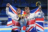 <p>After 13 years and four Olympic Games, Tom Daley finally secured a gold medal. Competing in the synchronised 10m platform, Daley and his partner Matty Lee somersaulted to a win-clinching score of 471.81 points.</p>
