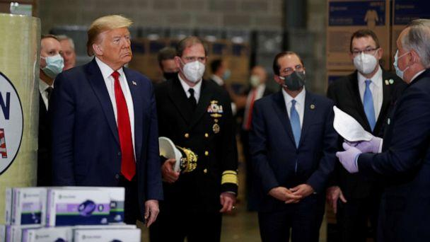 PHOTO: President Donald Trump tours medical equipment distributor Owens & Minor during the coronavirus disease pandemic in Allentown, Pa., May 14, 2020. (Carlos Barria/Reuters)