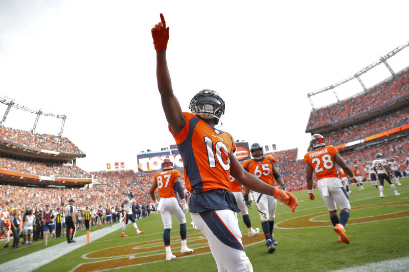 Denver Broncos wide receiver Emmanuel Sanders (10) celebrates his touchdown against the Chicago Bears during the second half of an NFL football game, Sunday, Sept. 15, 2019, in Denver. (AP Photo/David Zalubowski)