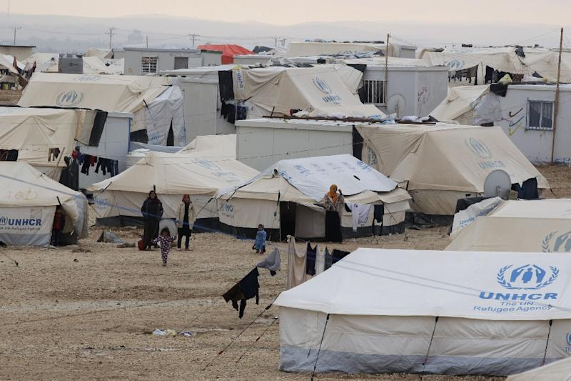 Syrian refugees at the UN-run Zaatari refugee camp, north east of the Jordanian capital Amman