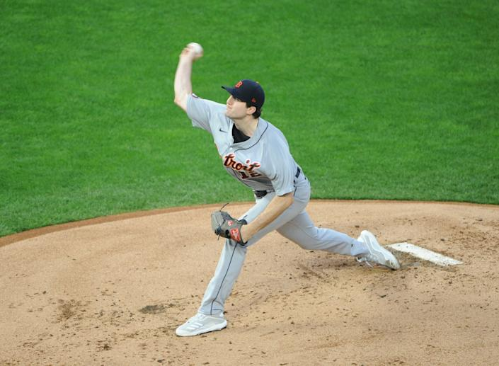 Detroit Tigers pitcher Casey Mize delivers Sept. 23, 2020, a pitch during the first inning against the Minnesota Twins at Target Field in Minneapolis.
