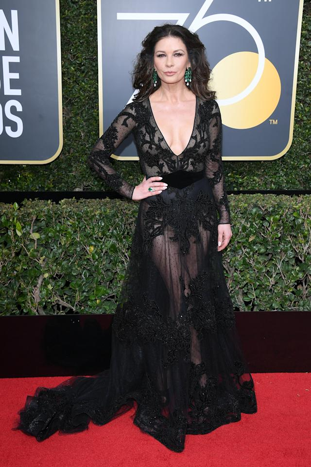 <p>She's looking better than ever at 48, and CZJ went for sheer perfection on  the Golden Globes red carpet.</p>