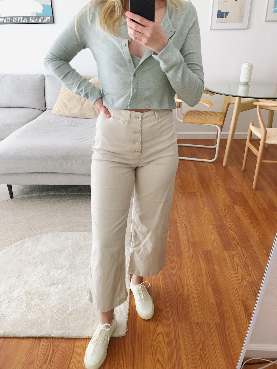 "<p><strong>Item</strong>: <span>Old Navy Wide-Leg Pants </span> (35, originally $40) </p> <p><strong>What our editor said:</strong> ""No matter how I style them, I find myself wanting to wear them again and again. The flattering silhouette not only looks good, but they feel good, too. I chose them in a beige shade, because I love wearing neutrals, but they come in two other fun options as well."" - KJ If you want to read more, here is the <a href=""https://www.popsugar.com/fashion/comfortable-wide-leg-pants-from-old-navy-editor-review-47802124"" class=""link rapid-noclick-resp"" rel=""nofollow noopener"" target=""_blank"" data-ylk=""slk:complete review"">complete review</a>.</p>"