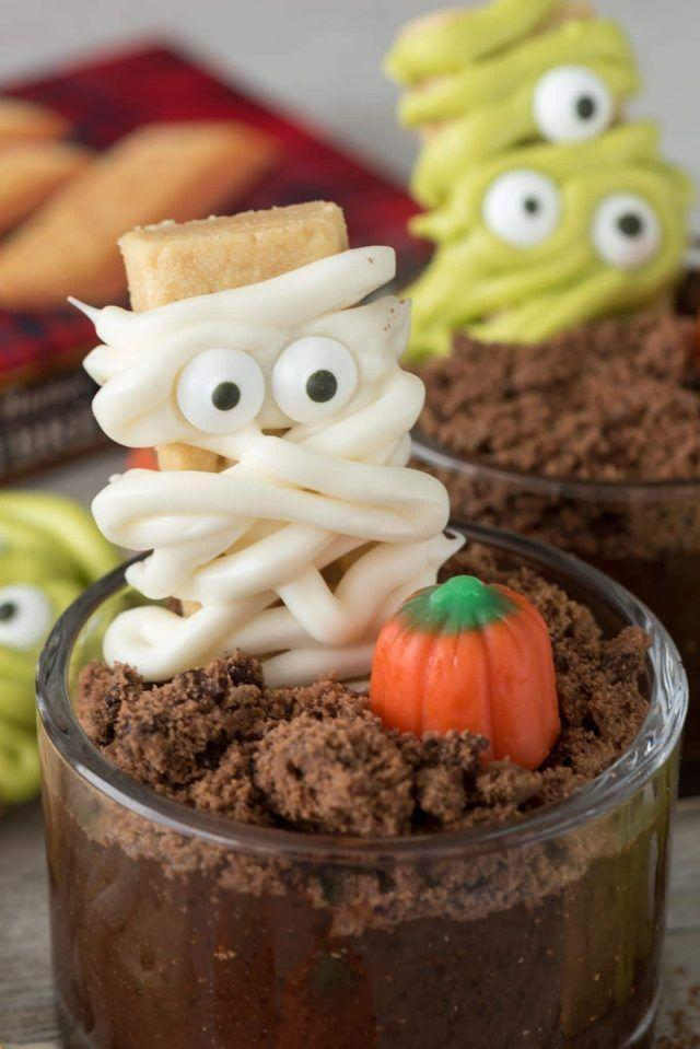 """<p>Who doesn't love dirt cups? The excitement factor of these ones has been ramped up with the addition of cookies and candy.</p><p><strong>Get the recipe at <a href=""""https://www.crazyforcrust.com/mummy-and-monster-dirt-cups/"""" rel=""""nofollow noopener"""" target=""""_blank"""" data-ylk=""""slk:Crazy for Crust"""" class=""""link rapid-noclick-resp"""">Crazy for Crust</a>.</strong></p><p><strong><strong><a class=""""link rapid-noclick-resp"""" href=""""https://go.redirectingat.com?id=74968X1596630&url=https%3A%2F%2Fwww.walmart.com%2Fip%2FThe-Pioneer-Woman-2-Piece-Rectangular-Ruffle-Top-Ceramic-Bakeware-Set%2F46040022&sref=https%3A%2F%2Fwww.thepioneerwoman.com%2Ffood-cooking%2Fmeals-menus%2Fg32110899%2Fbest-halloween-desserts%2F"""" rel=""""nofollow noopener"""" target=""""_blank"""" data-ylk=""""slk:SHOP BAKING DISHES"""">SHOP BAKING DISHES</a></strong><br></strong></p>"""