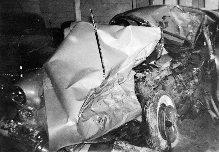 The wreckage of the 1949 Cadillac golfer Ben Hogan was driving when it collided with a bus.