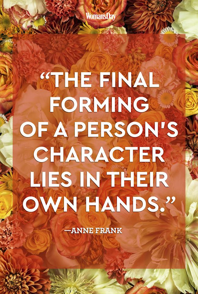 """<p>""""The final forming of a person's character lies in their own hands.<span>""""</span></p>"""