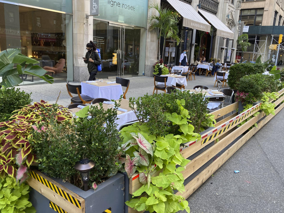Photo by: STRF/STAR MAX/IPx 2020 10/9/20 Restaurants continue to expand and improve their outdoor dining areas with street closures plants, stuffed animals, space heaters and other decorative items. Currently New York City only allows 25% capacity for indoor dining during the Phase 4 reopening of restaurants in New York City.