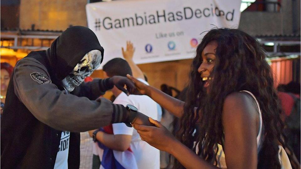 People celebrating in Banjul after Yahya Jammeh's defeat - January 2017