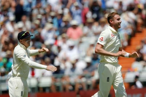 That's out: Stuart Broad celebrates after the dismissal of Zubayr Hamza