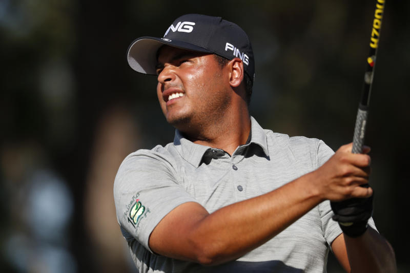 CORRECTS SPELLING OF COUNTRY TO COLOMBIA INSTEAD OF COLUMBIA - Sebastian Munoz, of Colombia, watches his 18th tee drive during the third round of the Sanderson Farms Championship golf tournament in Jackson, Miss., Saturday, Sept. 21, 2019. (AP Photo/Rogelio V. Solis)