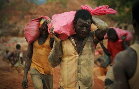 Gold prospectors carry bags of rock and earth to be sorted at a gold mine near the village of Gamina in western Ivory Coast, March 16, 2015. REUTERS/Luc Gnago