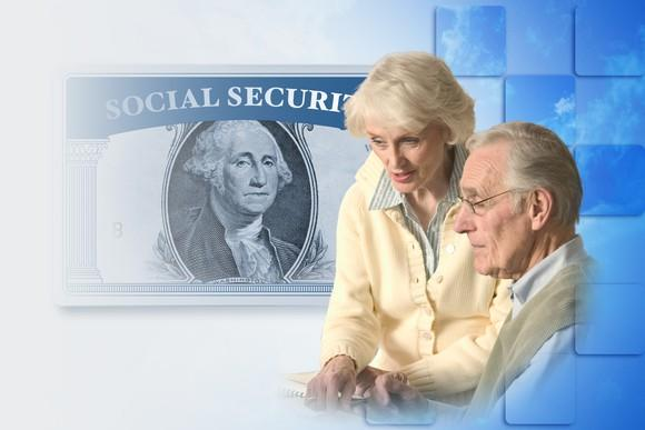 Two older people in front of a blue background with a Social Security card imposed over the George Washington picture from the $1 bill.