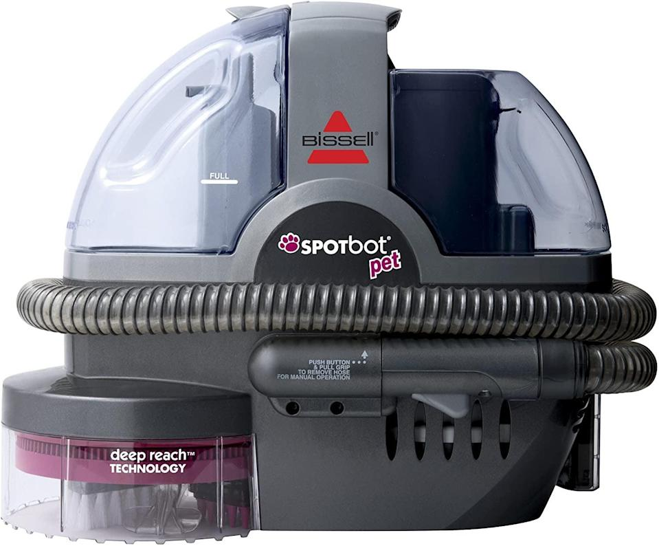 <p>With a press of a button, the <span>SpotBot Pet Hands-Free Spot and Stain Cleaner With Deep Reach Technology</span> ($180) cleans both new and set-in stains. It may come with a bottle of Bissell Pet Stain Oxy Boost Formula, but it also easily handles other accidents and stains.</p>