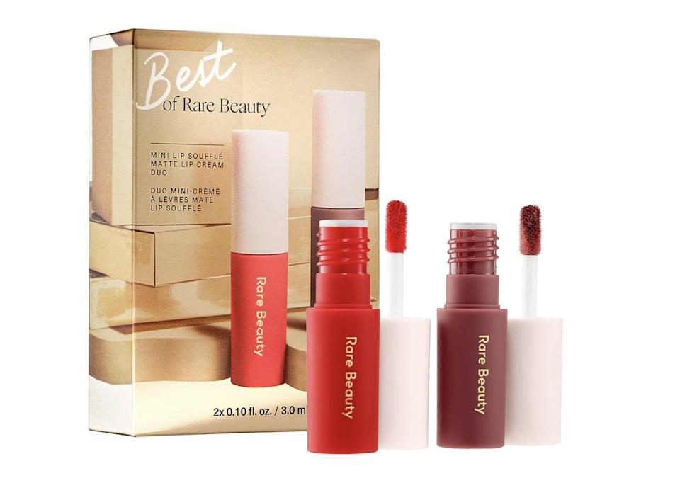 <p>Score the classics with this incredible <span>Rare Beauty Mini Lip Souffle Matte Cream Lipstick Duo</span> ($15).</p>