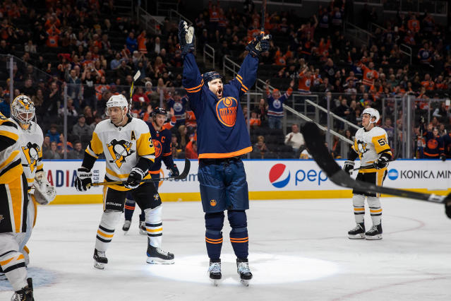 Edmonton Oilers' Zack Kassian (44) celebrates his goal against the Pittsburgh Penguins during the second period of an NHL hockey game Friday, Dec. 20, 2019, in Edmonton, Alberta. (Codie McLachlan/The Canadian Press via AP)