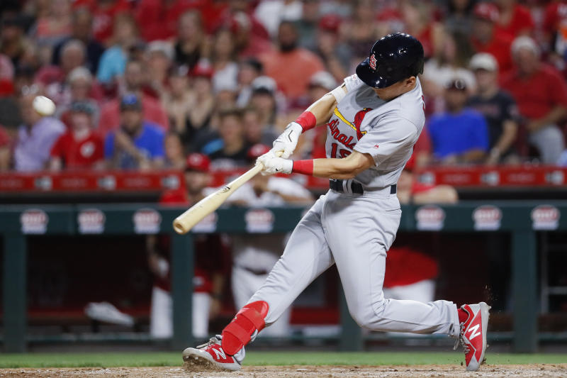 St. Louis Cardinals' Tommy Edman hits a grand slam off Cincinnati Reds relief pitcher Robert Stephenson during the sixth inning of a baseball game Thursday, July 18, 2019, in Cincinnati. (AP Photo/John Minchillo)