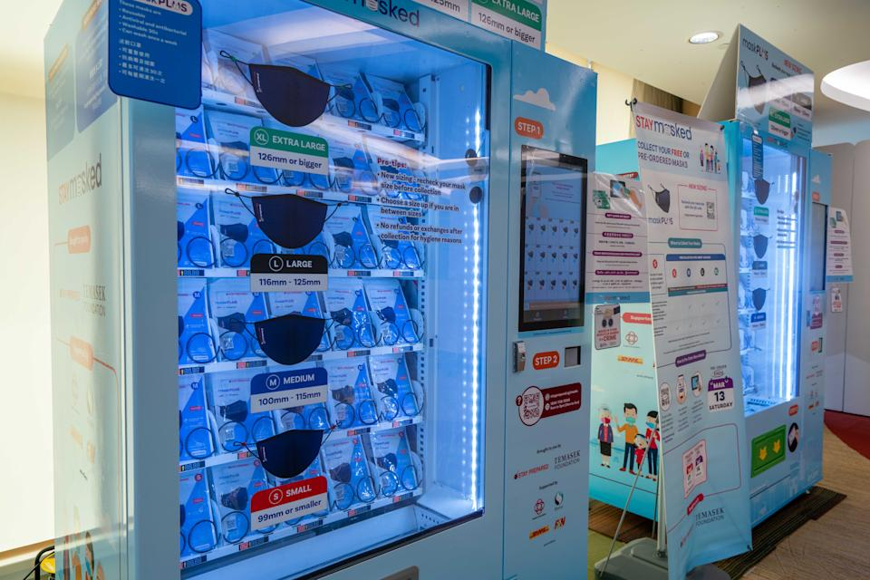 Mask distribution vending machines. (PHOTO: Temasek Foundation)