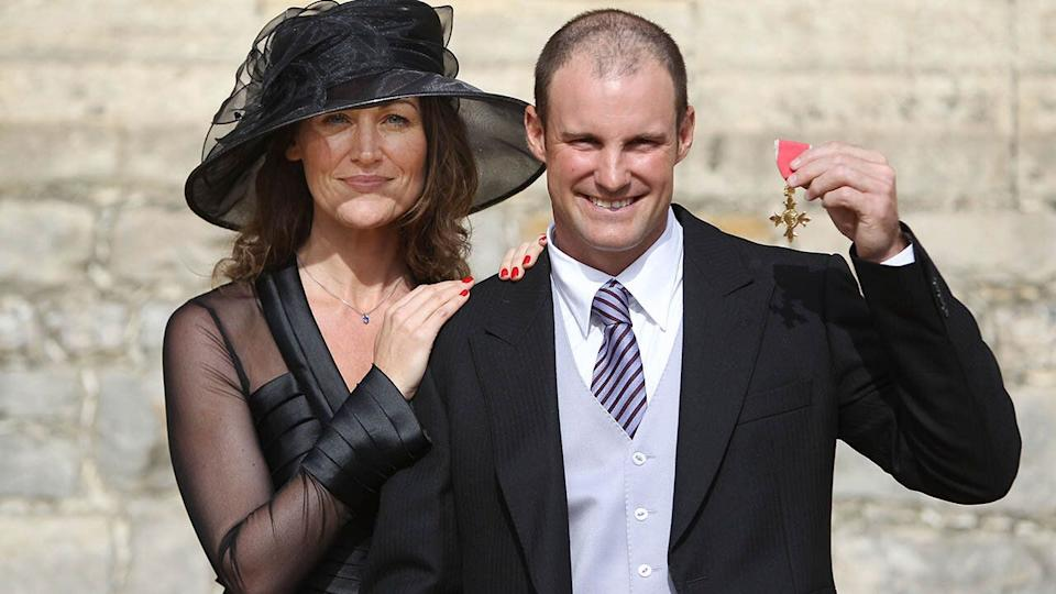 Andrew and Ruth pose with his OBE in 2011. (Photo by Lewis Whyld/WPA Pool/Getty Images)
