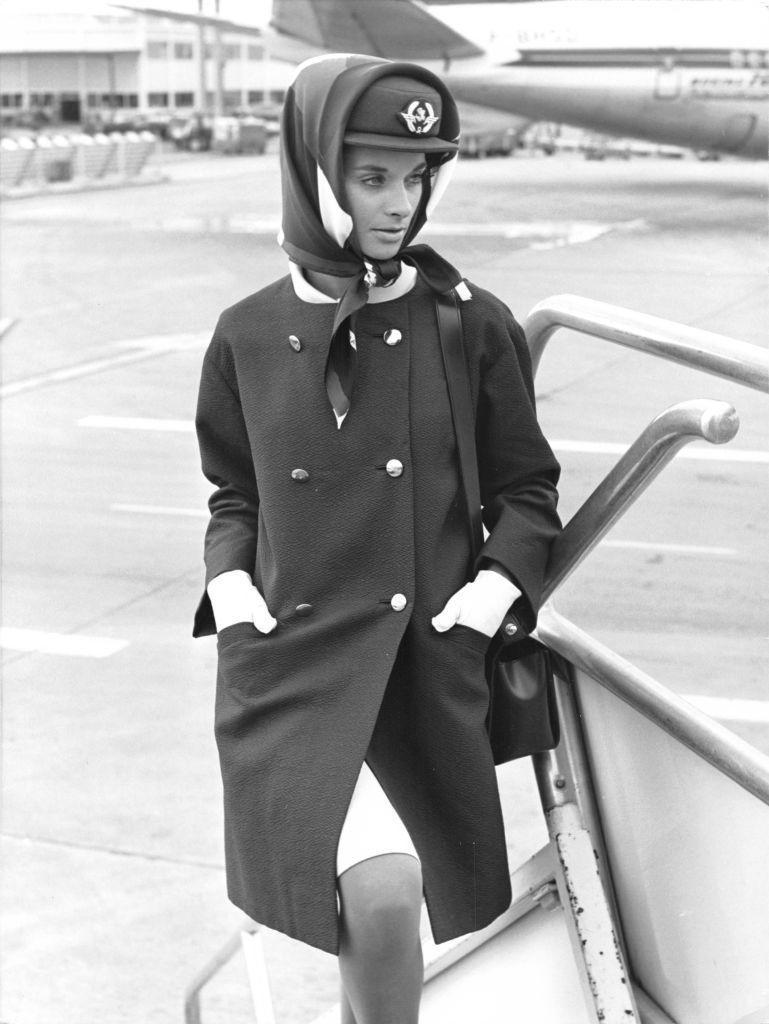 <p>This Cristóbal Balenciaga design was another couture uniform commissioned by AirFrance in the 1960s. </p>