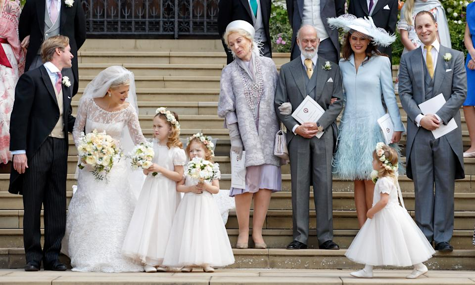 WINDSOR, UNITED KINGDOM - MAY 18: (EMBARGOED FOR PUBLICATION IN UK NEWSPAPERS UNTIL 24 HOURS AFTER CREATE DATE AND TIME) Thomas Kingston, Lady Gabriella Windsor, Princess Michael of Kent, Prince Michael of Kent, Lady Frederick Windsor and Lord Frederick Windsor leave following the wedding of Lady Gabriella Windsor and Thomas Kingston at St George's Chapel on May 18, 2019 in Windsor, England. (Photo by Pool/Max Mumby/Getty Images)