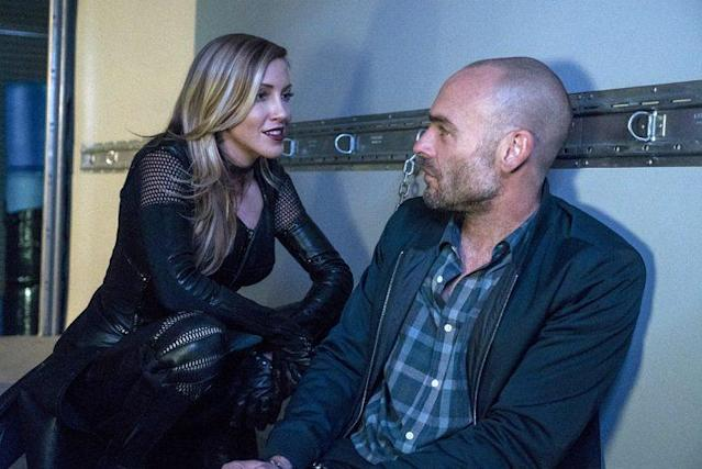 Katie Cassidy as Laurel Lance/Black Canary and Paul Blackthorne as Quentin Lance (Photo: Katie Yu/The CW)