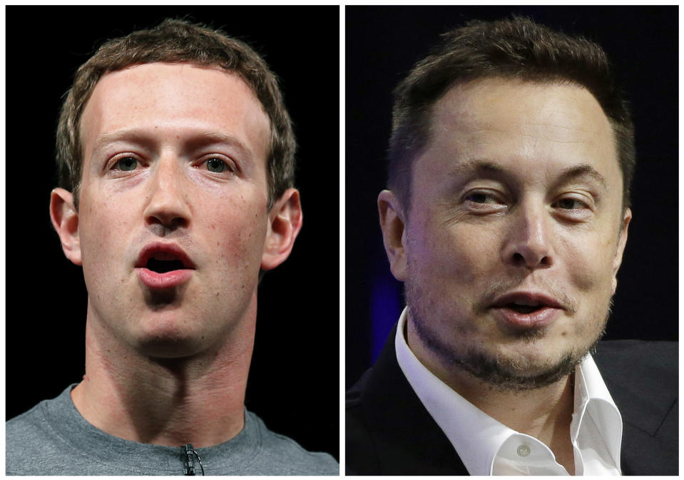 Mark Zuckerberg e Elon Musk. (AP Photo/Manu Fernandez, Stephan Savoia)