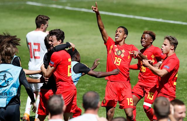 Soccer Football - UEFA European Under-17 Championship Quarter-Final - Belgium vs Spain - Banks's Stadium, Walsall, Britain - May 14, 2018 Jamie Yayi Mpie celebrates scoring Belgium's second goal with team mates Action Images via Reuters/Carl Recine