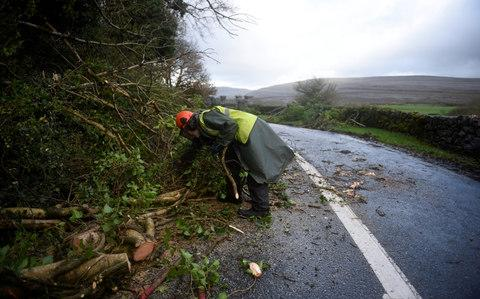 Worker clears fallen trees off a road during Storm Ophelia in Burren - Credit: CLODAGH KILCOYNE/Reuters