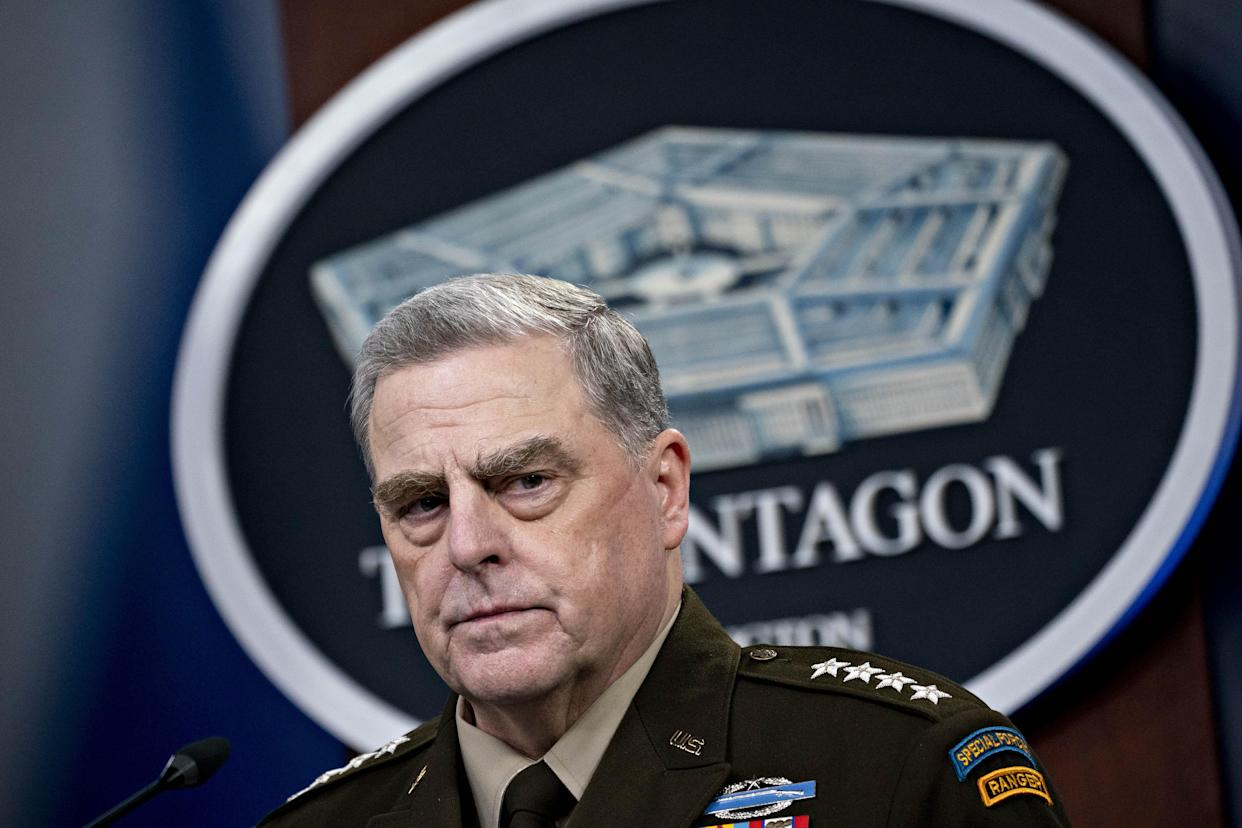 Mark Milley, chairman of the joint chiefs of staff, pauses while speaking during a news conference at the Pentagon in Arlington, Virginia, U.S., on Wednesday, Sept. 1, 2021. (Andrew Harrer/Bloomberg via Getty Images)
