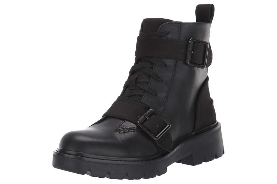 combat boots, black, leather, chunky, lace up, ugg