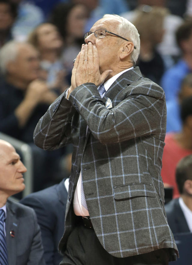 North Carolina head coach Roy Williams reacts to a call during the second half of a first-round game against Lipscomb in the NCAA men's college basketball tournament in Charlotte, N.C., Friday, March 16, 2018. (AP Photo/Bob Leverone)