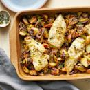 <p>Tender chicken breast is bathed in a lemony marinade that brings a bright pop of flavor to this one-dish meal. The vegetables get crispy edges and, along with the juicy chicken, make this a winning combo.</p>