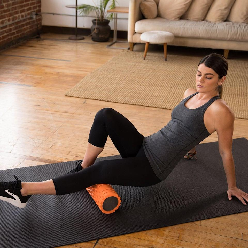 "<p>""After a grueling session, this <span>321 Strong Foam Roller</span> ($27) is my savior. It helps relieve tight muscles and relaxes me."" - KJ</p>"