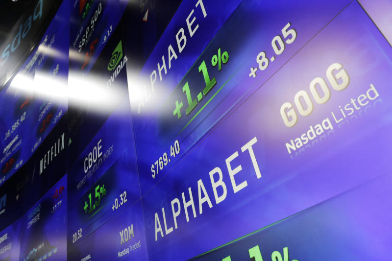 Electronic screens post prices of Alphabet stock, Monday, Feb. 1, 2016, at the Nasdaq MarketSite in New York. Alphabet, the parent company of Google, reports quarterly earnings Monday. (AP Photo/Mark Lennihan)