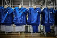 Clean laundry at Paris's Pitie-Salpetriere hospital, where more than 100 staff handle tonnes of dirty linen every day