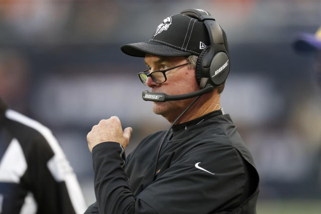 Minnesota Vikings head coach Mike Zimmer watches from the sidelines during the second half of an NFL football game against the Chicago Bears Sunday, Sept. 29, 2019, in Chicago. (AP Photo/Charles Rex Arbogast)
