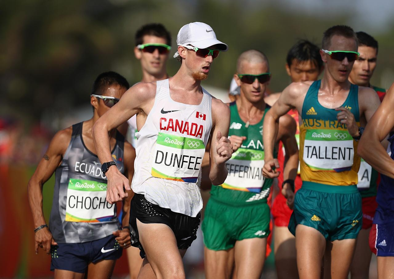 "<p>For a single afternoon, Richmond, B.C.'s Evan Dunfee was an Olympic bronze medallist. The race walker was eventually bumped back to fourth place in the 50-kilometre event after a controversial ruling. With about a kilometre to go, Hirooki Arai of Japan bumped Dunfee in third while trying to pass him. Arai was quickly disqualified from the event and stripped of his bronze medal, bumping Dunfee onto the podium. Several hours later, Japan had successfully appealed the ruling, pushing Dunfee back down to fourth place. ""The second I saw the video I didn't think it was anything worth disqualifying him over,"" Dunfee said. ""We had the option to appeal the Japanese decision to the Court of Arbitration for Sport. I told our team I didn't want to pursue that. ""The first thing he said to me was he was sorry and I think that was a big testament to the kind of person he is."" Click <a rel=""nofollow"" href=""https://ca.sports.yahoo.com/news/canadas-evan-dunfee-says-doing-193850420.html"">here</a> to read more. </p>"