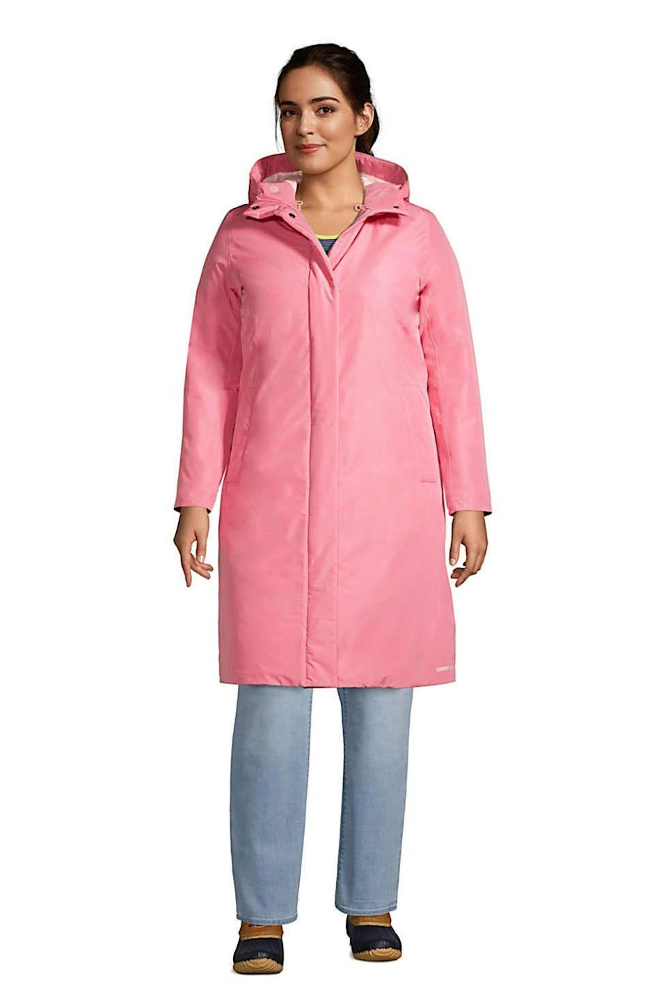 """<p><strong>Land's End</strong></p><p>landsend.com</p><p><strong>$150.00</strong></p><p><a href=""""https://go.skimresources.com?id=74968X1525079&xs=1&url=https%3A%2F%2Fwww.landsend.com%2Fproducts%2Fwomens-plus-size-insulated-raincoat%2Fid_343211%3Fattributes%3D21927%26source%3DGS%26currency%3DUSD%26geo%3DUS%26skumv%3D5573868%26promotion-code%3DKITE%26promotion-pin%3D0"""" rel=""""nofollow noopener"""" target=""""_blank"""" data-ylk=""""slk:Shop Now"""" class=""""link rapid-noclick-resp"""">Shop Now</a></p><p>A tried-and-true classic, Land's End's traditional raincoat is updated in a bubblegum-pink color that gives it a more fashionable feel. The insulated interior is an added bonus.</p>"""