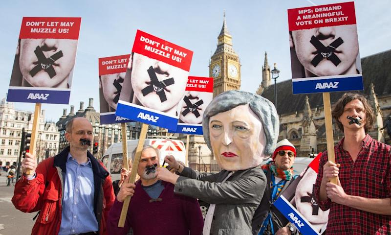 Protesters demonstrate outside parliament, calling for MPs to vote to approve the House of Lords amendment to the government's Brexit bill.