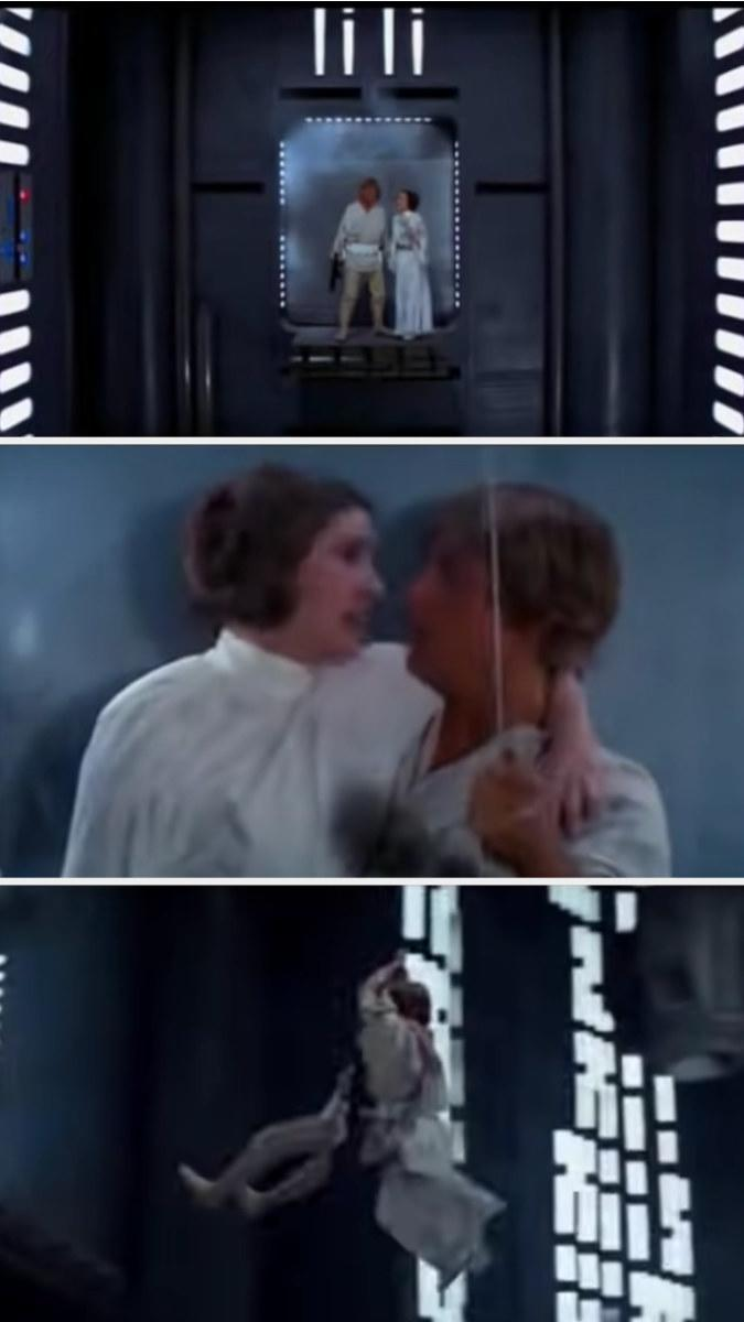 Leia and Luke swing across the chasm