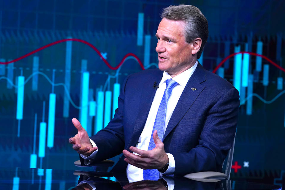 """NEW YORK, NEW YORK - JANUARY 09: Bank Of America CEO Brian Moynihan is interviewed by Jack Otter during """"Barron's Roundtable"""" at Fox Business Network Studios on January 09, 2020 in New York City. (Photo by John Lamparski/Getty Images)"""