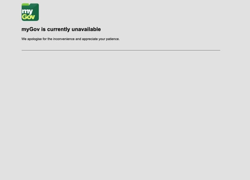 The myGov website is down. The platform is the portal to claiming the coronavirus supplement payments. (Source: Yahoo Finance screenshot)