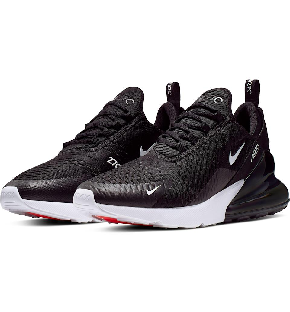"""<h3><a href=""""https://shop.nordstrom.com/s/nike-air-max-270-sneaker-men/5646445"""" rel=""""nofollow noopener"""" target=""""_blank"""" data-ylk=""""slk:Nike Air Max 270 Sneaker"""" class=""""link rapid-noclick-resp"""">Nike Air Max 270 Sneaker</a></h3><br><strong>Under $200</strong><br>The timelessly-styled Air Max sneaker is an unequivocal crowd-pleaser, with another close-to-5-star rating from almost 100 customers. There's a chance your dad wore these during their initial '80s heyday, so he'll be happy to see that they've come back around.<br><br><strong>Nike</strong> Air Max 270 Sneaker, $, available at <a href=""""https://go.skimresources.com/?id=30283X879131&url=https%3A%2F%2Fshop.nordstrom.com%2Fs%2Fnike-air-max-270-sneaker-men%2F5646445%3F"""" rel=""""nofollow noopener"""" target=""""_blank"""" data-ylk=""""slk:Nordstrom"""" class=""""link rapid-noclick-resp"""">Nordstrom</a>"""