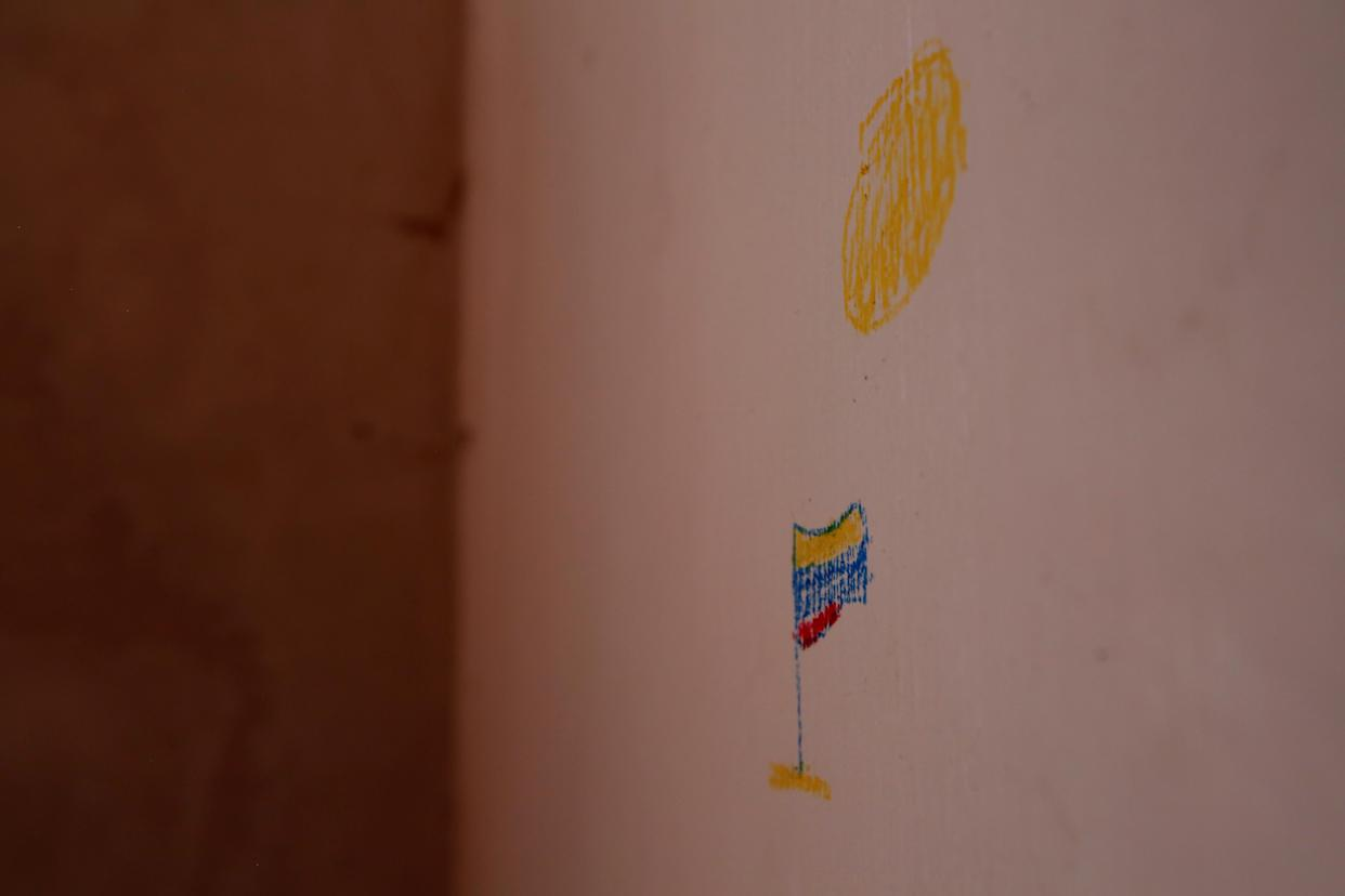 A drawing of Venezuelan flag in the room of Maroly Bastardo, at her home in El Tigre, Venezuela, on June 3. (Photo: Ivan Alvarado/Reuters)