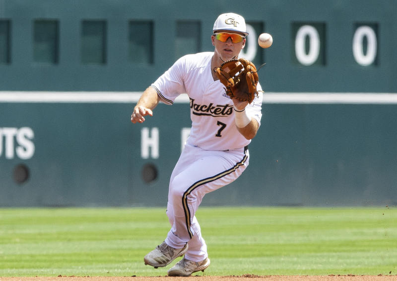 Georgia Tech's Luke Waddell (7) fields a ground ball during the ACC NCAA college baseball championship game against North Carolina, Sunday, May 26, 2019, in Durham, N.C. (AP Photo/Ben McKeown)
