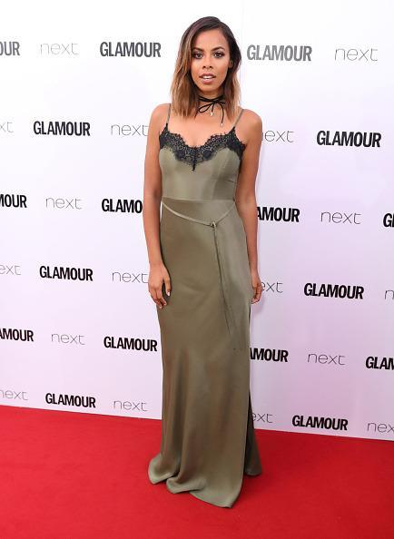<p>Rochelle looked bang on-trend in a slinky slip dress and choker. She actually designed the dress herself for her Very range. <i> [Photo: Mike Marsland/Mike Marsland/WireImage]</i></p>