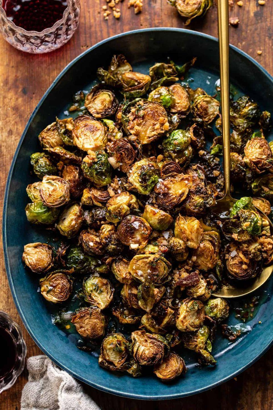"""<p>Food blogger Tieghan Gerard says her salty-sweet sprouts have the texture of potato chips. They're certainly just as addictive!</p><p><strong>Get the recipe from <a href=""""https://www.halfbakedharvest.com/fried-brussels-sprouts/"""" rel=""""nofollow noopener"""" target=""""_blank"""" data-ylk=""""slk:Half-Baked Harvest"""" class=""""link rapid-noclick-resp"""">Half-Baked Harvest</a>. </strong></p>"""
